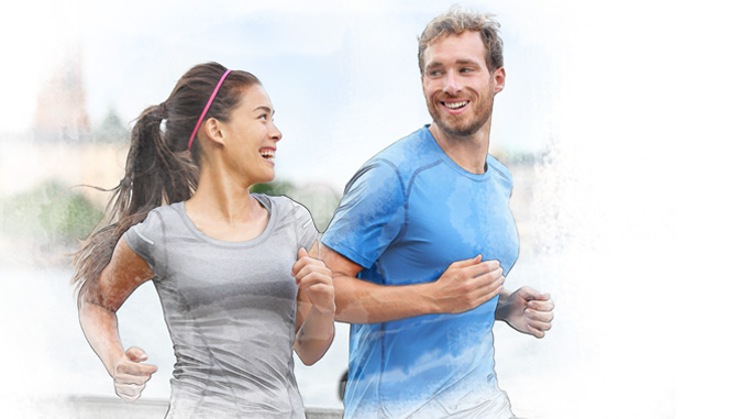 healthy couple running and laughing